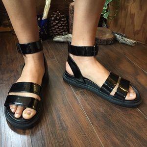 ASOS black vinyl sandals size 9